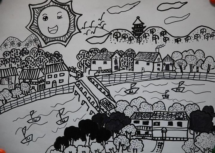 邓狄 10岁 儿童组 儿童画 《美丽的家乡》重庆市南岸区金高清图片