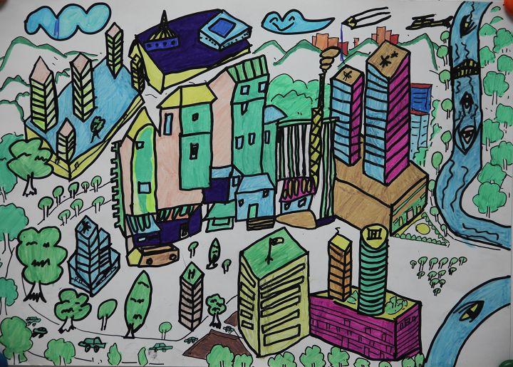 何梓豪 11岁 儿童组 儿童画《家乡的进化》重庆市南岸区金高清图片