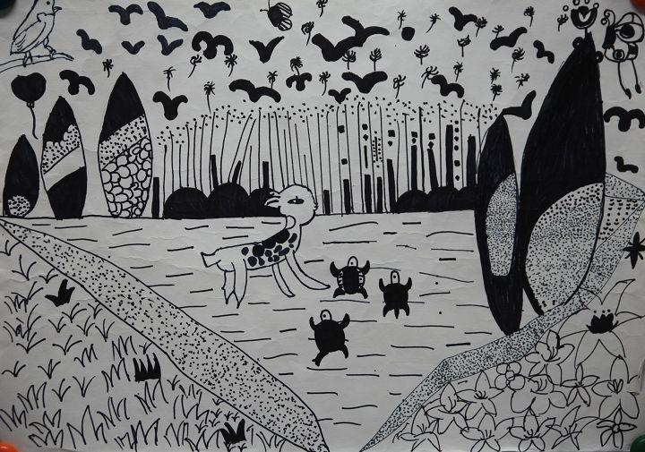 唐焰龄 10岁 儿童组 儿童画《家乡的动物园》重庆市南岸区高清图片
