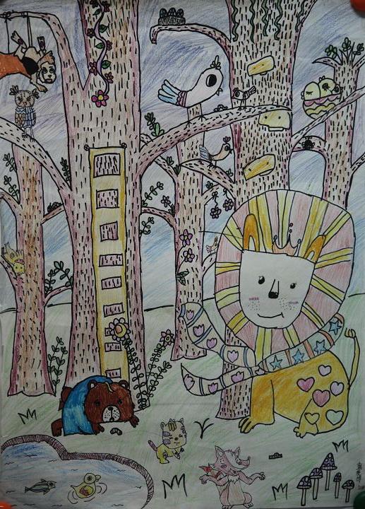 彭俊博 10岁 儿童组 儿童画 《动物的家乡》重庆市南岸区高清图片