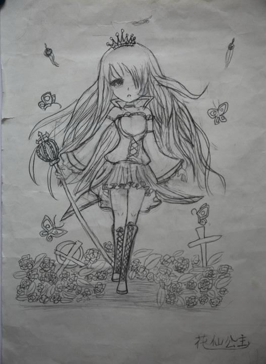 动漫公主铅笔画素描